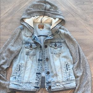 American Eagle denim jacket 2fer sweatshirt